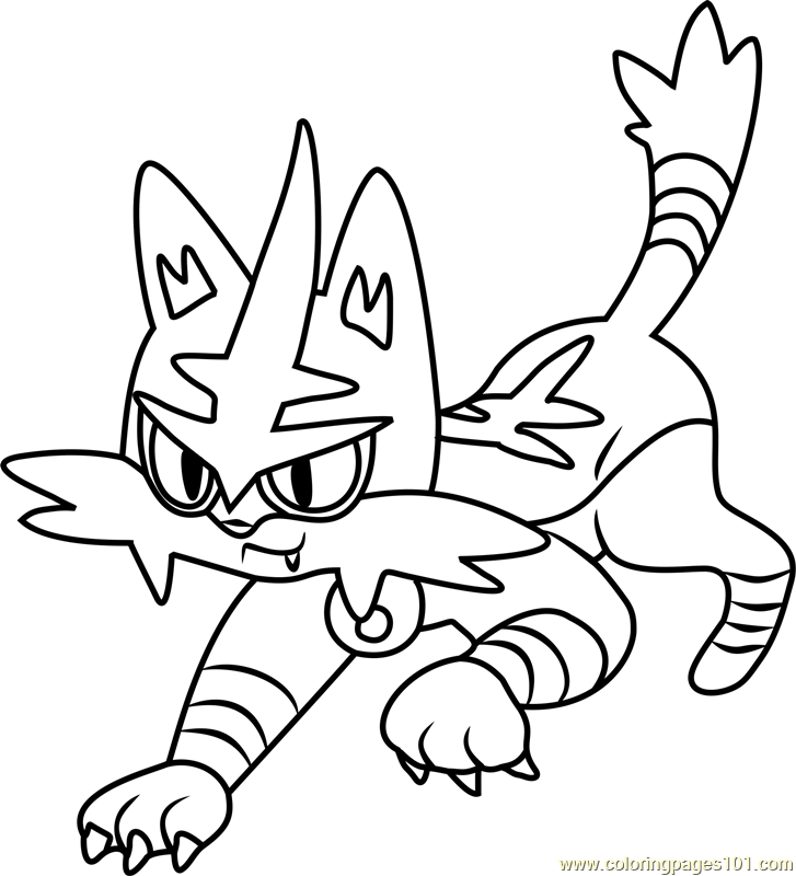 Torracat Pokemon Sun and Moon Coloring Page