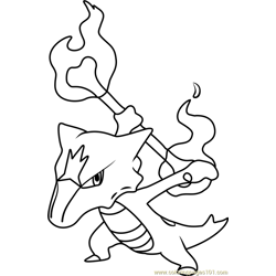 Alola Marowak Pokemon Sun and Moon Free Coloring Page for Kids