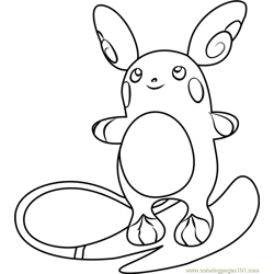 Alola Raichu Pokemon Sun and Moon Free Coloring Page for Kids