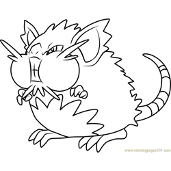 Alola Raticate Pokemon Sun and Moon Free Coloring Page for Kids