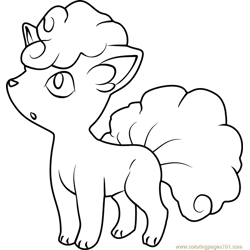 Alola Vulpix Pokemon Sun and Moon Free Coloring Page for Kids