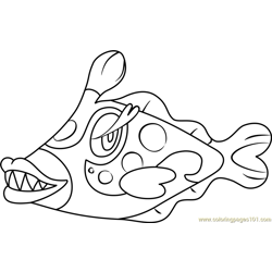 Bruxish Pokemon Sun and Moon Free Coloring Page for Kids
