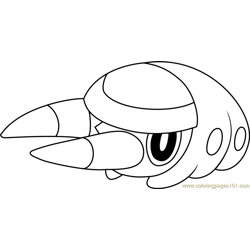 Grubbin Pokemon Sun and Moon Free Coloring Page for Kids