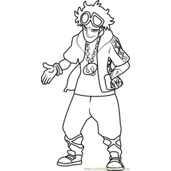 Guzma Pokemon Sun and Moon Free Coloring Page for Kids