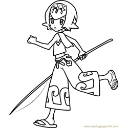 Lana Pokemon Sun and Moon Free Coloring Page for Kids