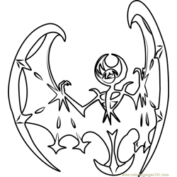 Lunala Pokemon Sun and Moon Free Coloring Page for Kids