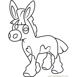 Mudbray Pokemon Sun and Moon Free Coloring Page for Kids