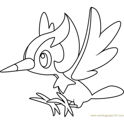 Pikipek Pokemon Sun and Moon Free Coloring Page for Kids