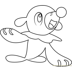 Popplio Pokemon Sun and Moon Free Coloring Page for Kids