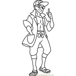 Professor Kukui Pokemon Sun and Moon Free Coloring Page for Kids