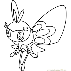Ribombee Pokemon Sun and Moon Free Coloring Page for Kids