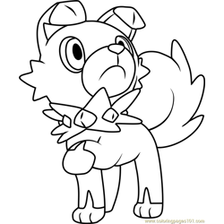 Rockruff Pokemon Sun and Moon Free Coloring Page for Kids