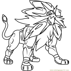 Solgaleo Pokemon Sun and Moon Free Coloring Page for Kids