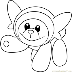 Stufful Pokemon Sun and Moon Free Coloring Page for Kids