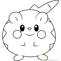 Togedemaru Pokemon Sun and Moon Free Coloring Page for Kids