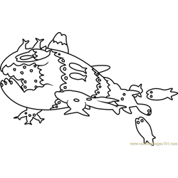 Wishiwashi School Form Pokemon Sun and Moon Free Coloring Page for Kids
