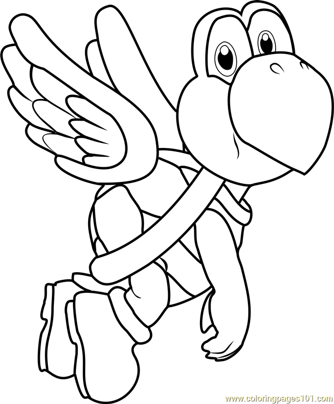 Koopa paratroopa coloring page free super mario coloring for Koopa coloring pages