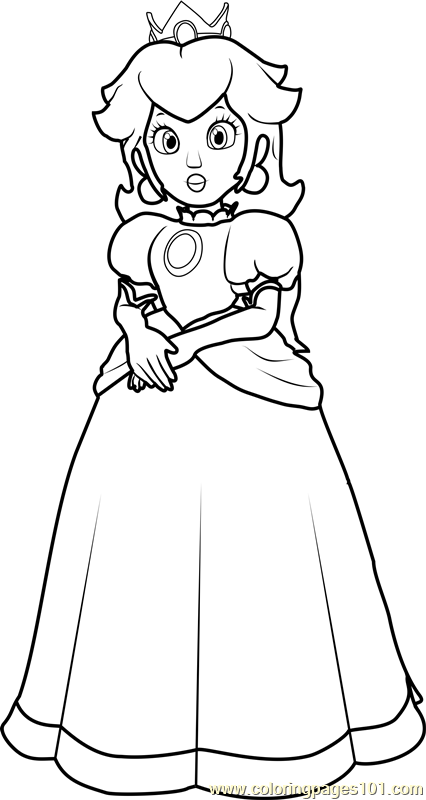 Princess Peach Coloring Page Free Super Mario Coloring Pages
