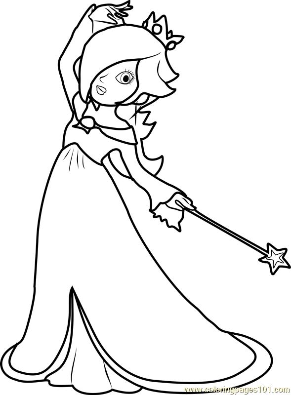 Rosalina Mario Coloring Pages. Rosalina Coloring Page  Free Super Mario Pages