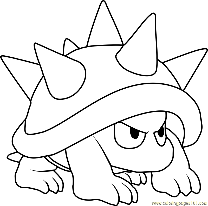 Spiny Coloring Page - Free Super Mario Coloring Pages ...