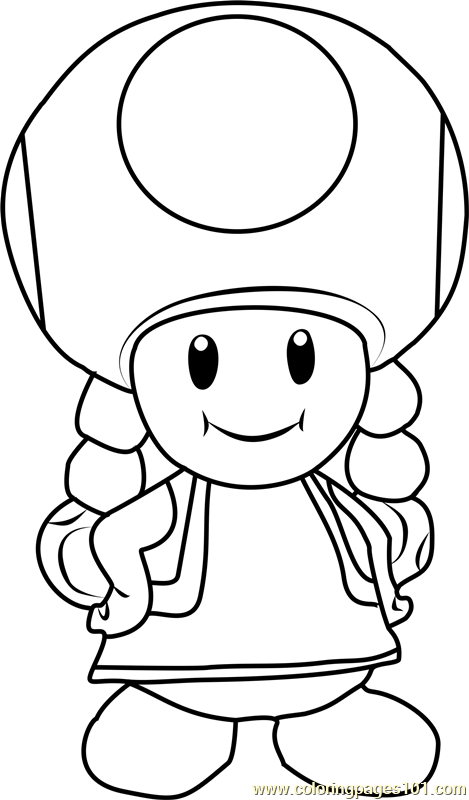 Toadette Coloring Page Free Super Mario Coloring Pages