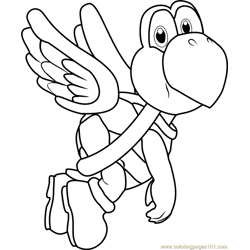 Koopa Paratroopa Free Coloring Page for Kids