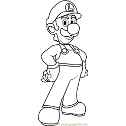 Luigi Free Coloring Page for Kids