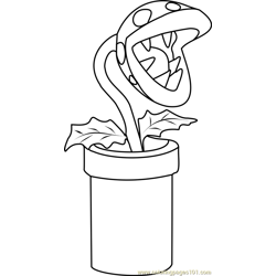Piranha Plant Free Coloring Page for Kids