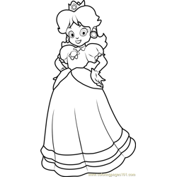 Princess Daisy Free Coloring Page for Kids