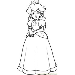 Princess Peach Free Coloring Page for Kids