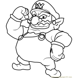 Wario Free Coloring Page for Kids