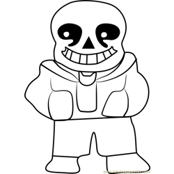 Sans Undertale Free Coloring Page for Kids