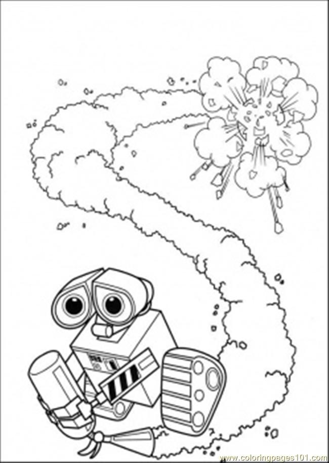 Wall E With Fire Extinguisher Coloring Page - Free Wall-E Coloring ...