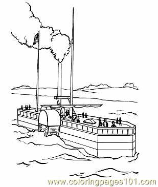 002 Steam Boat Coloring Pages Coloring Page