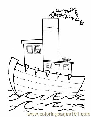 012 Kid Printable Boat Coloring Page Free Water