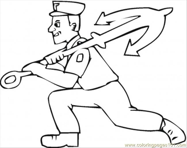 Man Carries Anchor Coloring Page
