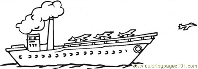 Aircraft Carier With Plains Coloring Page