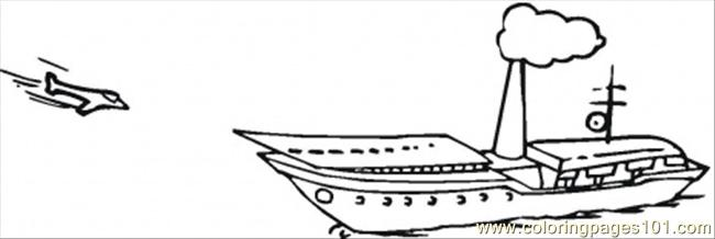 Plain Is Approaching To Aircraft Carier Coloring Page