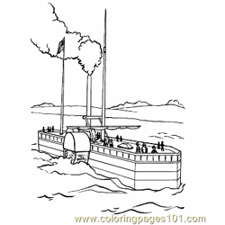 002 Steam Boat Coloring Pages Free Coloring Page for Kids