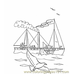 003 First Steam Boat Free Coloring Page for Kids
