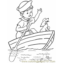 008 Kid Coloring Page Boat