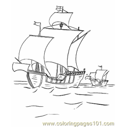 015 Columbus Ships To Color Free Coloring Page for Kids