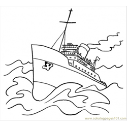 Big Ship Free Coloring Page for Kids