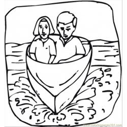 Couple In A Little Boat Free Coloring Page for Kids