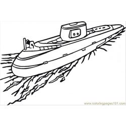 Submarine Free Coloring Page for Kids