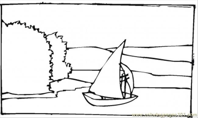 Vessel On The Shore Coloring Page