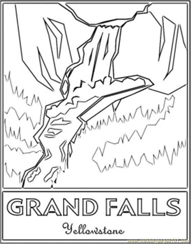 Grand Falls Yellowstones Coloring Page Free Waterfall