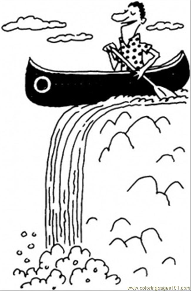 on the boat in waterfall coloring page - Coloring Page Waterfall