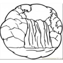 Ittle Waterfall Free Coloring Page for Kids