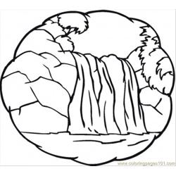 Little Waterfall Free Coloring Page for Kids